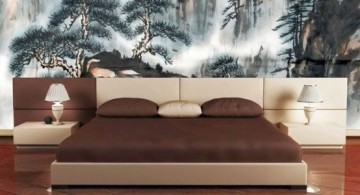 featured image of asian inspired bedroom design with gorgeous nature painting wall panel