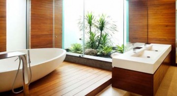 featured image of contemporary wood bathroom with indoor garden