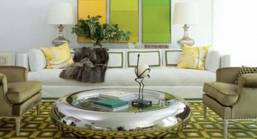 featured image of living room with many shades of lined green and grey