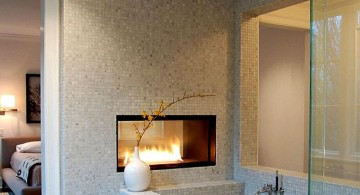 gas fireplace bedroom in wall partition