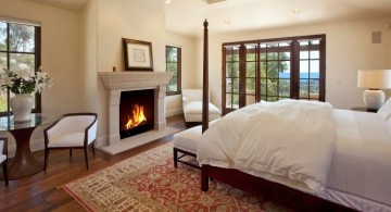 gas fireplace bedroom in white