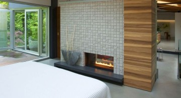 gas fireplace bedroom on wall partition panel