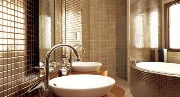 glam tiles brown bathrooms