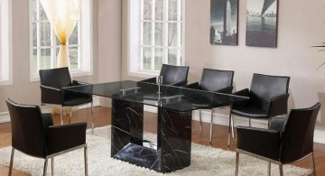glass topped granite dining room table