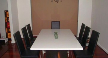 granite dining room table in monochrome