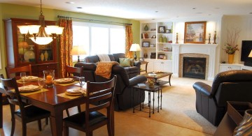 great room furniture layout living room with fireplace and dining area
