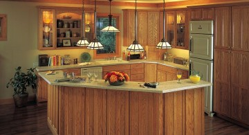 hanging kitchen light on rustic kitchen island