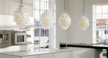 hanging kitchen light with seashell cover