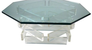 hexagon acrylic cocktail table