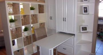 hidden murphy bed unit paired with a desk