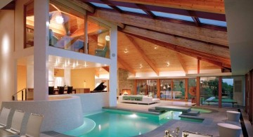 homes with indoor pools with cathedral ceiling and indoor balcony