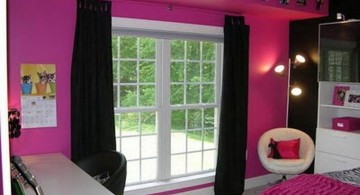 hot pink room with black curtain