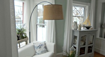 huge floor lamp with reed shade
