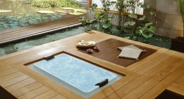 in ground unique tubs with wooden deck