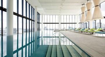 indoor lap pool on roof level