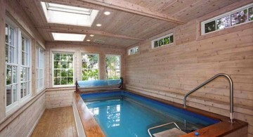 indoor lap pool with wood walls