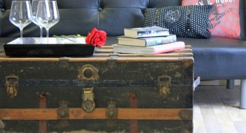 industrial trunk coffee table with wheels