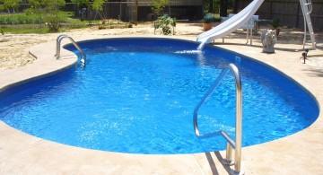 inground kidney shape pool with slide
