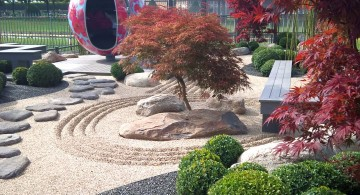 japanese garden designer with giant red statue