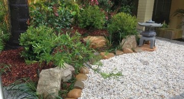 japanese garden designer with small garden lamp