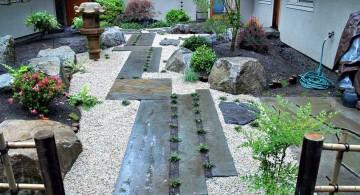 japanese garden designer with wood pathway