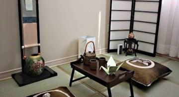 japanese theme room with tea set