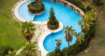 kidney shape pool with an island