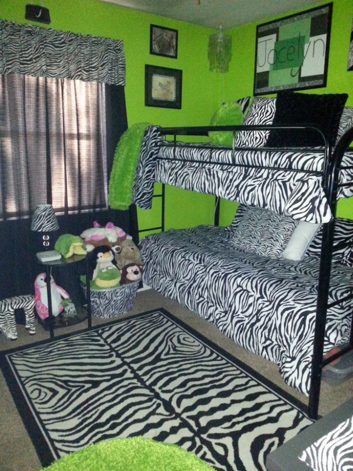 17 fresh and bright lime green bedroom ideas 12129 | lime green bedroom with zebra pattern bedding x34469