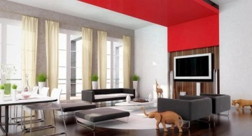 living room tv ideas in black and red room