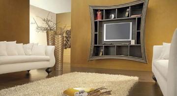 living room tv ideas mounted on unique shelf