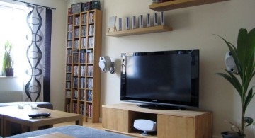 living room tv ideas with floating shelves above it