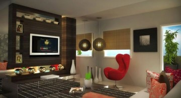 living room tv ideas with retro chair
