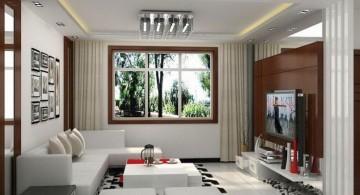 long living room in white