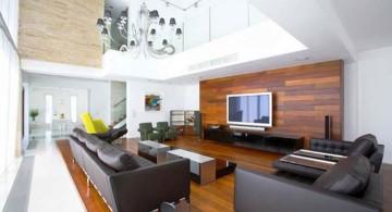 long living room with indoor balcony