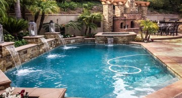 lovely pools with waterfalls and outdoor fireplace