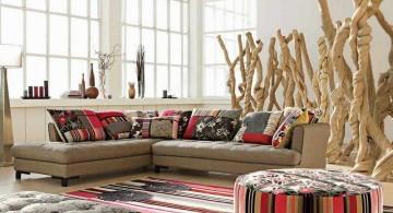 mah jong sofa with modern statues