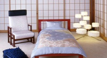 minimalist asian inspired bedroom with unique floor lamp
