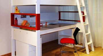 minimalist in white Desk bed combo