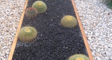 minimalist simple rock garden ideas with black sand