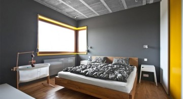 minimalist yellow gray bedroom