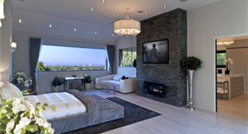 modern and luxurious gas fireplace bedroom
