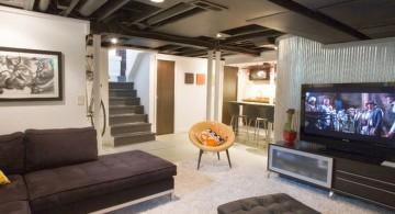 modern basement as media room