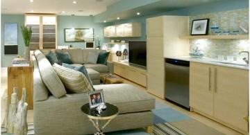 modern basement sitting room in white