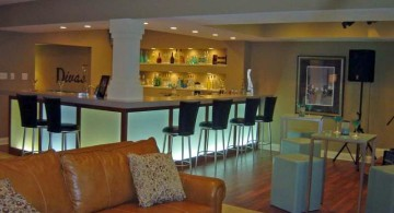 modern basement with a small bar