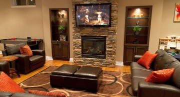 modern basement with fireplace