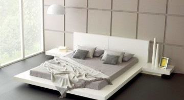 modern floating bed in white and grey