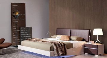 modern floating bed with LED lamp underneath