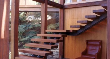modern floating wood staircase