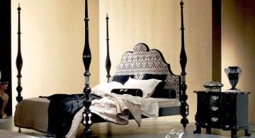 modern four poster bed with spindles in black