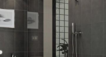 modern glass shower in grey